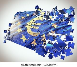 The European Union jigsaw puzzle with Euro symbol points economic crisis
