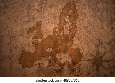 european union map on a old vintage crack paper background