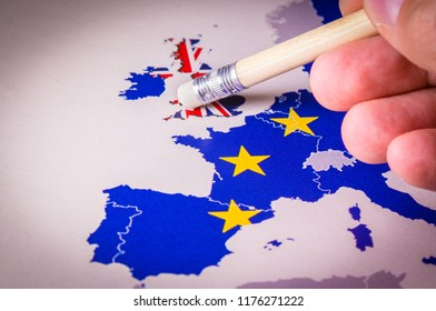 European Union Map with UK removed by pencil eraser, concept of Brexit. The UK is thus on course to leave the EU on 29 March 2019