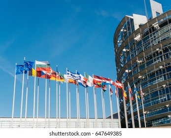 European Union near All EU flags fly half-mast European Parliament building memory of victims terrorist explosion Manchester Arena Ariana Grande concert