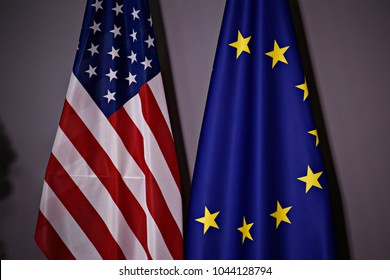 European and US flags in European Council in Brussels, Belgium on May 25, 2017.