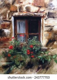 European window flower box oil painting