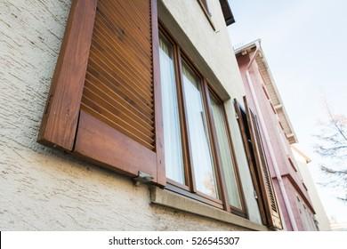 European Windows Wooden Shutters Old House Texture Outdoors Exterior