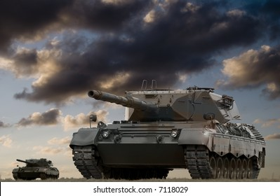 European-built main battle tanks preparing to engage the enemy.  The largest version of this file will fit a standard North American double-page spread (17 x 11 inches), at 300 pixels per inch.