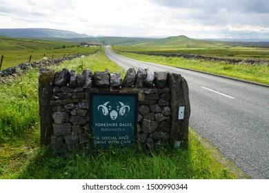 Europe/United Kingdom/Great Britain/England / North Yorkshire / Yorkshire National Park - Roadsign 06 30 19, Yorkshire National Park Name. Welcome to Yorkshire.