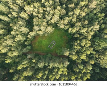 Europos Parkas in Lithuania aerial photo - Aerial green Lithuanian landscape drone photography