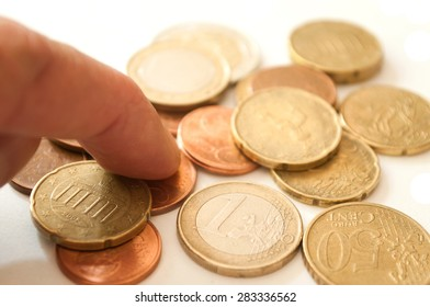 euros and cents coins closeup