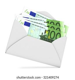 Euros in envelope. 3D render illustration isolated on white background