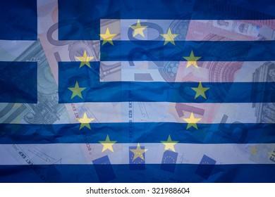 Euros, greek flag and EU flag - Finance concept