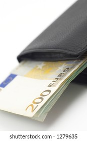 euros in leather wallet