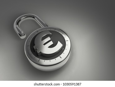 Euros that are unlocked, unprotected and unsecured as 3d rendering. A combination lock is unlocked with a Euro sign representing unsecured vulnerable money.