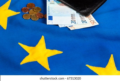Euros and a Wallet on the EU Flag