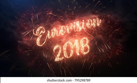 Eurovision 2018 song contest, Lisbon Portugal, greeting text with particles and sparks on black night sky with colored fireworks on background, beautiful typography magic design.