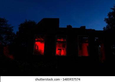 Eursinge, the Netherlands - August 23, 2019: Derelict shack at night in Eursinge, the Netherlands