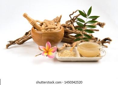 Eurycoma longifolia Jack or Tongkat Ali, roots, green leaves and powder have medicinal properties.