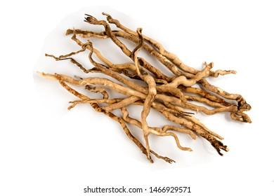 Eurycoma longifolia Jack or Tongkat Ali,roots on white background.