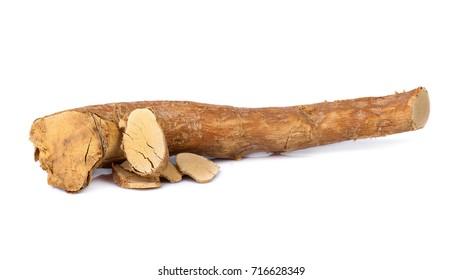 eurycoma longifolia also known as tongkat ali isolated on white background.