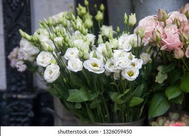 the eustoma in a bouquet for wedding ceremonies for sale