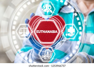 Euthanasia medical concept. Voluntary death. Doctor holds a red heart with euthanasia word on a virtual screen.