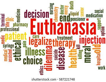 Euthanasia, word cloud concept on white background.