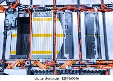EV car battery pack. Electric car lithium battery pack. Blue toned. Car maintenance.