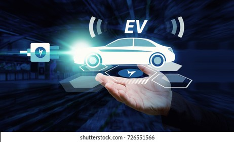 EV car, electric car in hand plug in charger for green electric energy ,Business man hold EV car icon for energy save and future technology