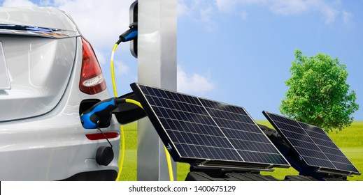 EV Car or electric power car and solar cells for electricity generation