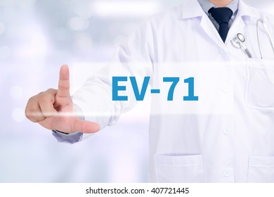 EV-71 Medicine doctor working with computer interface as medical