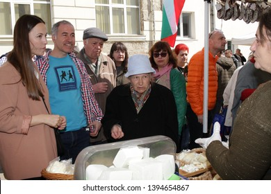 Eva Maydell, member European Parliament from Bulgaria's GERB Party, check up farmers market in Sofia, Bulgaria - 04/21/2019. She has been serving on the Committee on the Internal Market and Consumer