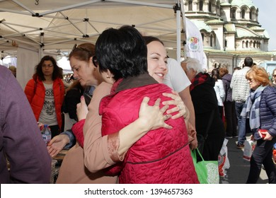 Eva Maydell, member European Parliament from Bulgaria's GERB Party and Desislava Atanasova on a farmers market in Sofia, Bulgaria - 04/21/2019. She has been serving on the Committee of Internal Market