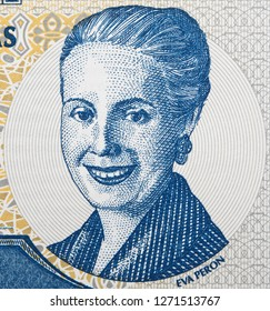 Eva Peron portrait on Argentine 2 peso (2001) banknote. Powerful unofficial political leader of Argentina, wife of president Juan Peron.
