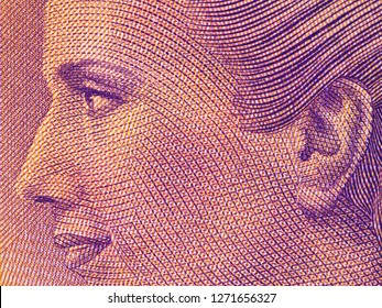 Eva Peron portrait on Argentine 100 peso (2017) banknote close up macro. Popular political leader of Argentina.