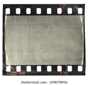 evacuated 35mm film strip or snip with empty blank window cell, real film material under foil, poster element, social media collage snippet.