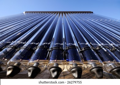 Evacuated tube solar collector, low angle detail