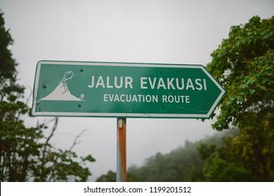 evacuation road near the volcano in indonesia
