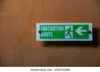 evacuation sign at the hotel