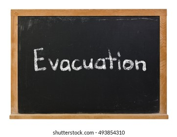 Evacuation written in white chalk on a black chalkboard isolated on white