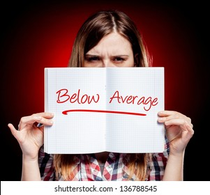 Evaluation below average and angry woman