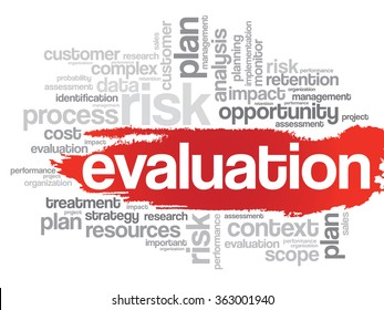 Evaluation concept in word tag cloud background