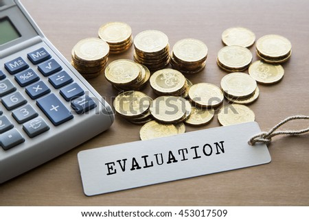 Evaluation Word On Tag Label Calculator Stock Photo Edit Now