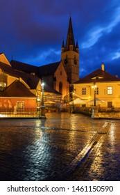 Evangelical Cathedral of Saint Mary and Bridge of Lies in Sibiu. Sibiu, Sibiu County, Romania.