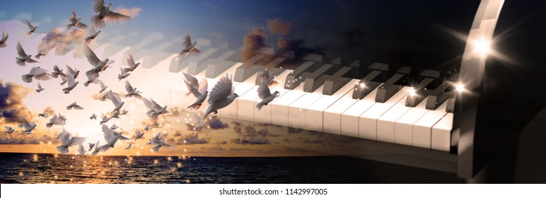 Evangelical Christian music concept background. Musical design with piano and sunset landscape with white doves.3d illustration of black grand piano keys