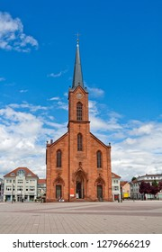 The Evangelical Church of Peace in Kehl, Germany with fountain on the foreground