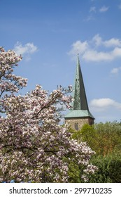 Evangelical St. Laurentius church in Schledehausen, Osnabrueck country, Lower Saxony, Germany (Protestant church)