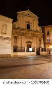 Evangelical-Augsburg Church of St. Martin at night in Krakow, Poland