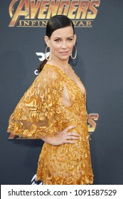 Evangeline Lilly at the premiere of Disney and Marvel's 'Avengers: Infinity War' held at the El Capitan Theatre in Hollywood, USA on April 23, 2018.