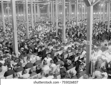 Evangelist Billy Sunday's Tabernacle during a revival in New York City, 1917. The huge tent accommodated 18,000 and cost $68,000 in 1917,