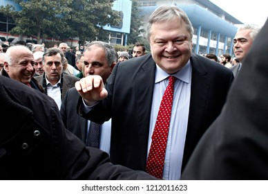 Evangelos Venizelos leader of the Greek Socialist party, PASOK, arrives to give a speech in  pre-election meeting  in Thessaloniki, Greece on Jan. 18, 2015