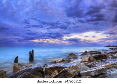 Evanston rocky shoreline. Location: Evanston, Illinois