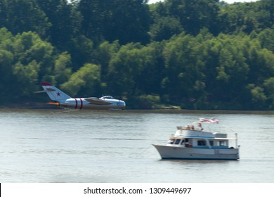 Evansville, Indiana, USA - June 25, 2016: Shriners Fest Air Show, MiG-17 performing a fast low level fly past over the Ohio River